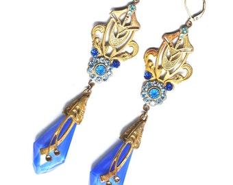 Art Nouveau Czech Blue Glass Earrings Periwinkle Rhinestones Authentic
