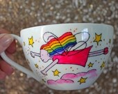 Fairy Teacup and saucer hand painted magic magical cup