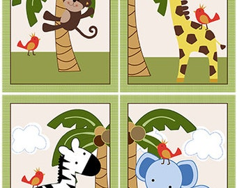 "Set of 4 Unframed ""Jungle Buddies/Safari Animals"" 5x7 inch Nursery Art Prints"
