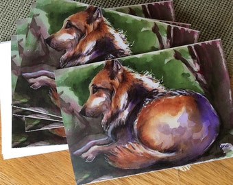 Wolf Wildlife Greeting Card from my Watercolor Painting