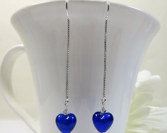 Threader Earrings Murano Glass Cobalt Blue Venetian Hearts, Blue Murano Venetian Glass Earrings w Swarovski & Sterling, Delicate Earrings