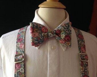 Suspender And Bow Tie Set Vintage Floral Fabric / Floral Bow Tie / Handmade Custom Pre-tied Bow Tie / Country Weddings / Shabby Chic Wedding
