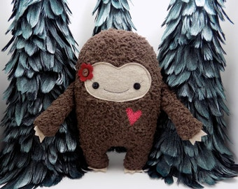 Big Foot girl plush stuffed toy in red,  big foot plushie, sasquatch, kawaii big foot stuffed toy, monster stuffed animal, girlie monster