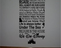 ON SALE Beautiful DISNEY famous movie quotes vinyl subway art sign -In this house We do Disney...Style 2