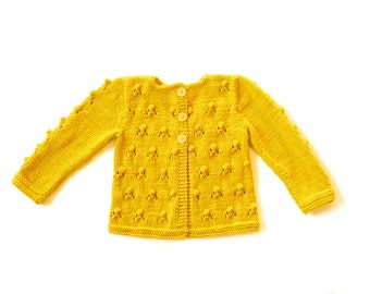 Girls Sweater yellow Knitted cardigan, wool jacket, popcorn knit bobbles, lace, toddler baby 0-3-6-9-12-18-24 months 2T 3T 4T 5T 6
