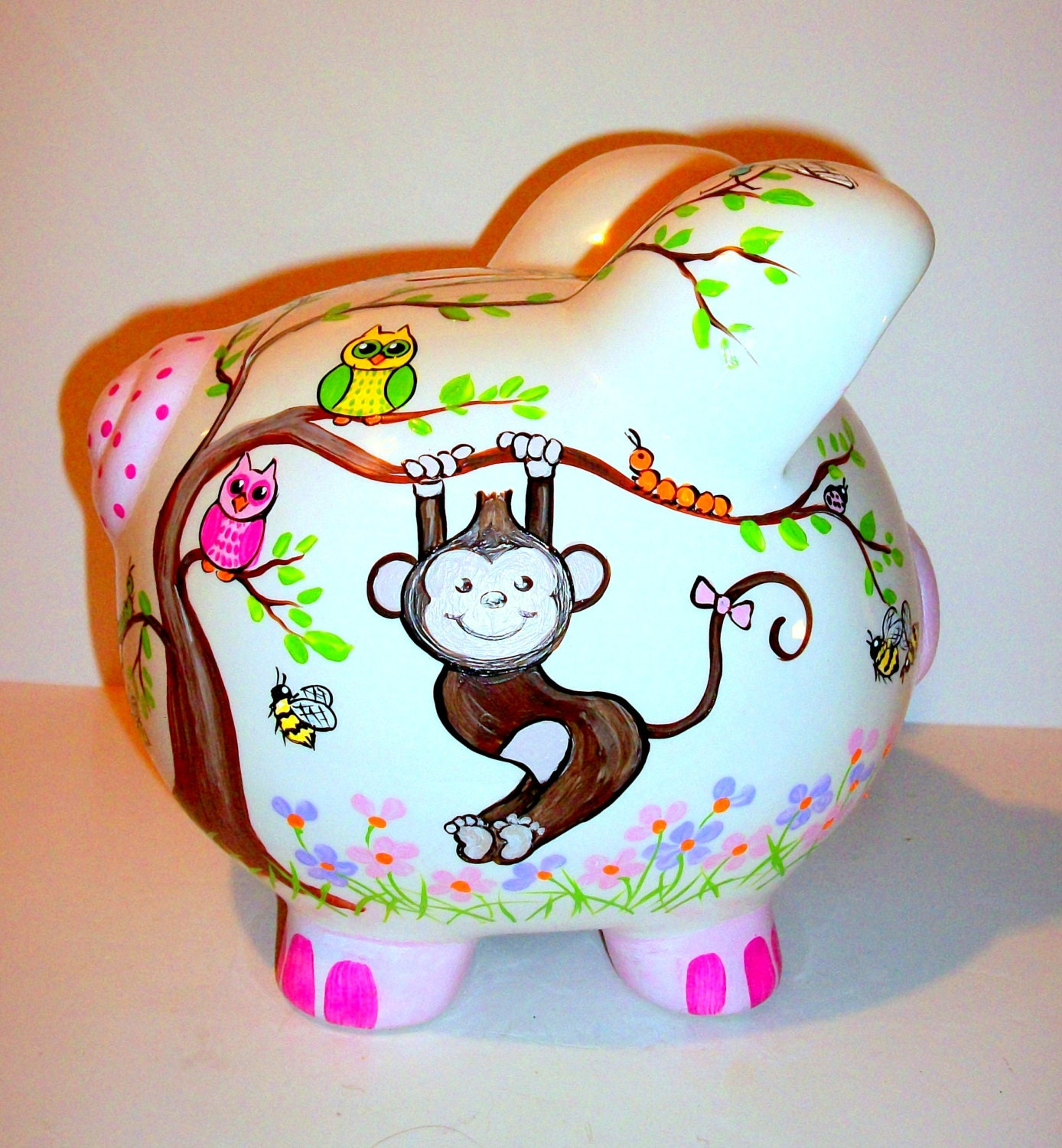 Monkey ceramic piggy bank jumbo hand painted large baby girl for How to paint a ceramic piggy bank
