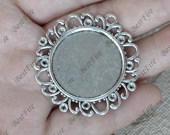 5pcs Antique Silver flower round Cabochon pendant tray (Cabochon size 25mm),bezel charm findings,lacework findings,cabochon blank finding
