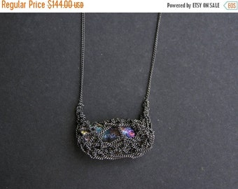 30% SALE hematite rainbow necklace, sterling silver, delicate crochet necklace, oxidized necklace, handmade
