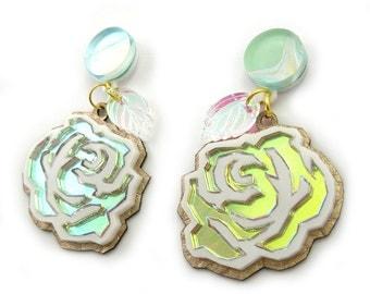 Hologram Rose Statement Earrings - flower earrings, laser cut earrings, iridescent earrings, spring earrings, marble earrings, pastel