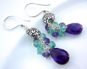 Apatite and Amethyst Cluster Drop Earrings. Bali Sterling Silver Earrings. Wire wrapped chandelier.