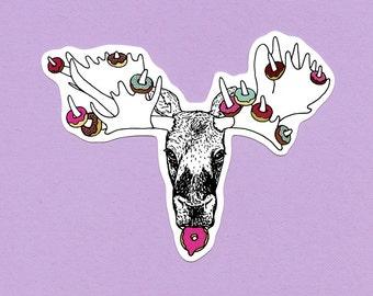 Doughnut Moose Vinyl Sticker
