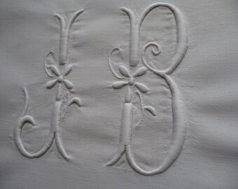 ANTIQUE FRENCH LINEN  hand embroidered monograme for re use from antique French linen sheets, napkins tablecloth