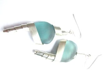 Conical Silver Turquoise Sea Glass Earrings