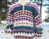 Hand Knit WOOL Sweater/ Womens 1970s ViNTaGe Pullover Sweater SIZE Large 16