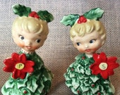 PRE SPRING SALE Vintage Holt Howard Twin Christmas Tree Girl Figurine Salt and Pepper Shakers made in Japan 1960s