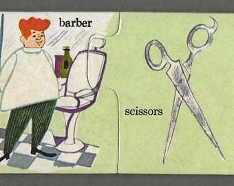 Vintage Mid Century Children's Illustration - Barber