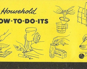 Vintage 1950's Household How To Do It's - Natural Mid Century Guide For Cleaning, Cooking, Baking