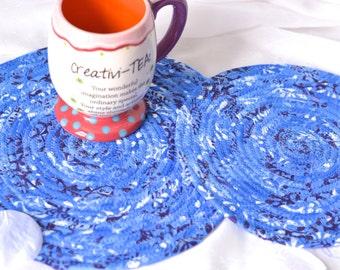 French Blue Trivet Set, Handmade Hot Pads, Lovely Blue Table Mats, Fun Mug Rugs, Table Toppers, Blue Potholders