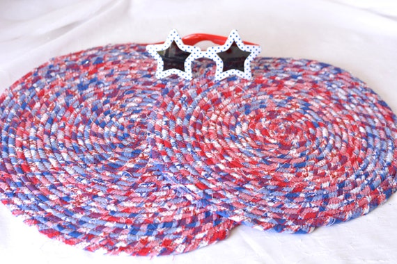Red White and Blue Trivets, 2 Handmade Memorial Day Trivet Set of 2, Patriotic Table Mat, USA Picnic Decor, Stars and Stripes Table Topper