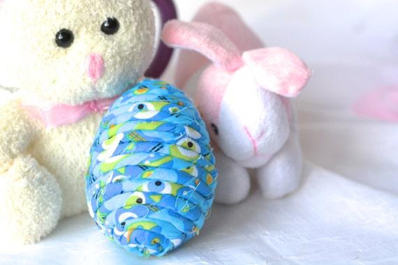 Easter Egg Ornament, Handmade Blue Easter Egg Decor, Easter Egg Hunt, Hand Coiled Fiber Easter Egg, Fun Blue Easter Egg