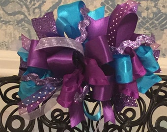Turquoise and Plum Funky Loop Bow - Turquoise and Purple Funky Loop Bow