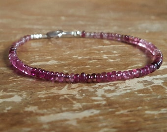 Tourmaline Bracelet Pink Tourmaline Bracelet October Birthstone Bracelet Ombre Beaded Bracelets Womens Bead Bracelet Wife Gift Gifts for Her