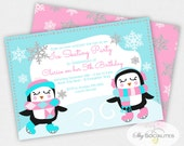 Ice Skating Party Invitation | Penguin Invitation | Winter | Instant Download | Editable Text PDF that You Edit Yourself In Adobe Reader