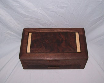 Jewelry Box large handcrafted  Walnut with Fancy Walnut and Fiddle Back Maple Inlayed top from our Elite Collection 3