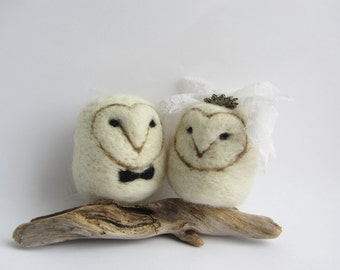 Felted owl wedding cake topper bride groom