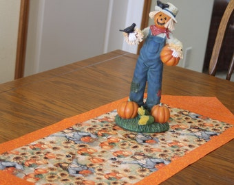 Fall Table Runner with Scarecrows - Kitchen Table Decoration,Table Runner