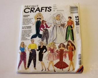 """Barbie Clothes Pattern 1992 McCall's Crafts 5738 Pattern: Fashion Doll Clothes for 11 1/2""""-12"""" Dolls - Sewing Pattern"""