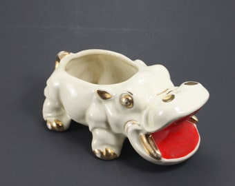 Vintage Ceramic Hippo Planter Cream Gold