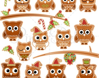 Gingerbread Owls Clipart Clip Art, Christmas Owls Clip Art Clipart, Christmas Owl Clipart Clip Art - Commercial and Personal