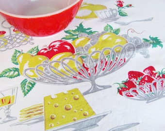 Vintage Tablecloth Fruit Cheese Wine Kitchen Table Tea Cart  Red Yellow Mid Century Decor 55 Inches By 48 Inches