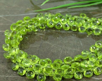 Natural Peridot 6-6.5mm Faceted Heart Briolette Beads / Approx 68 pieces on 9 Inch long strand / JBC-ET-135157