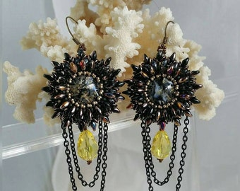 Starbursts Bead Woven &  BeadEmbroidered Earrings super duo beads, Swarovski Crystal,and chain