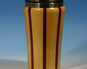 Birch with Purpleheart Accents Wooden Travel Mug with Stainless Steel Insert and Sliding Sipper Top