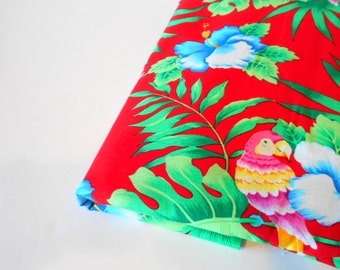 Tropical Print Fabric, 1 Yd Remnant, Sewing Supplies, Floral Print Fabric