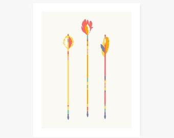 Art Print   Arrows Home Decor   Feather Archery Illustration   Nursery Decor