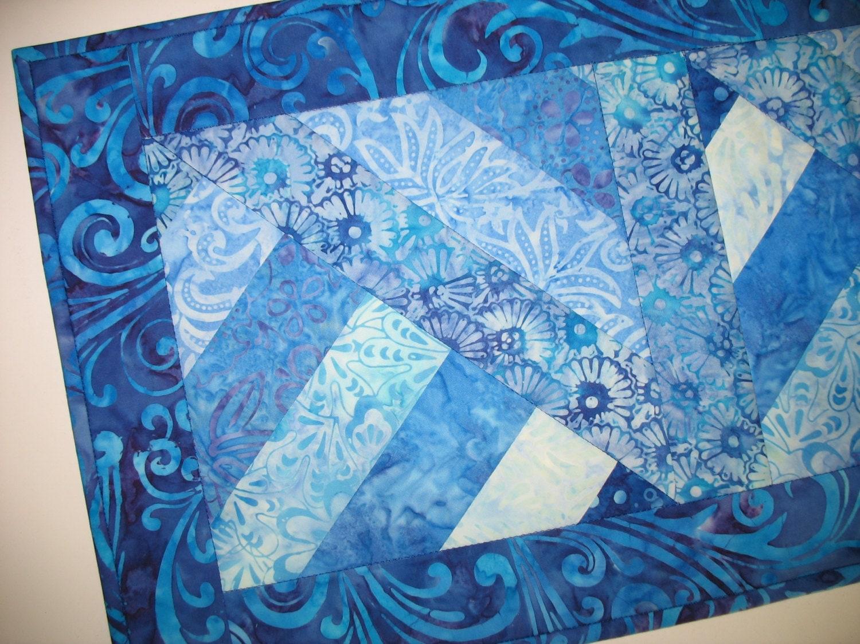Batik Table Runner In Violet Blue Batiks Quilted