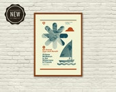 Mid Century Modern, Chicago - Andrew McMahon, Jack's Mannequin, 18 x 24 Silkscreen Concert Poster, Hipster, Dear Jack, sailing