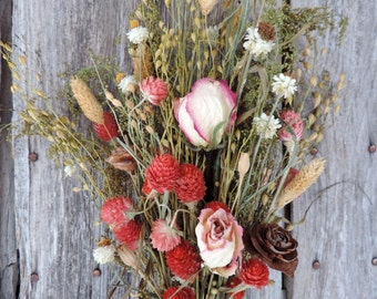 Dried Flower Bouquet Floral Arrangement Large Roses Flowers Statice Cedar Rose Wildflowers Natural Free Lavender Lace Sachet with Order
