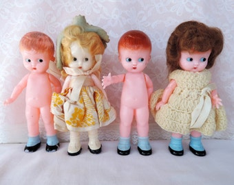 Knickerbocker Dolls Lot Plastic from the 1950's Boy and Girl Doll Lot of Four Hand Painted Collectilbles Closeout Overstock Good Deal