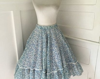 VINTAGE 1960s Lucy Pinup Blue & White Toille Full ROCKABILLY Squaredance Ruffle Circle Skirt