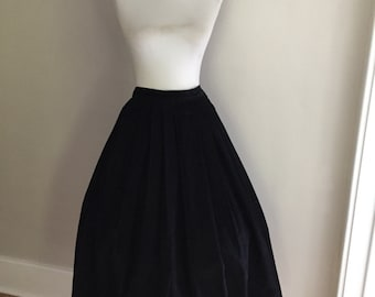 Vintage 1960s High Waisted  Black Thin Whale Corduroy Pleated Full Skirt