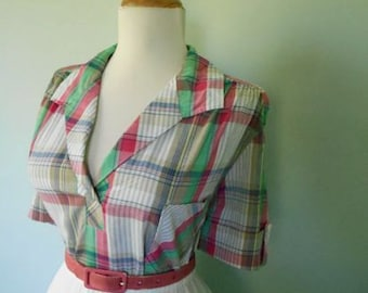Vintage Western Style Pink White & Green Pastel Cotton Plaid 1960s Button Down Short Sleeve Blouse