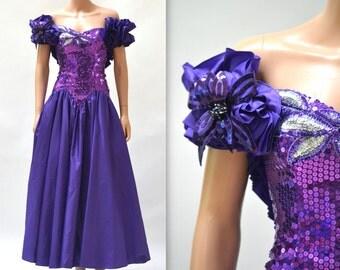 80s Prom Dress Purple Size XXS XSmall Sequin Ruffle Sleeves// 80s Pageant Dress Gown by Alyce Designs Size XXS XS