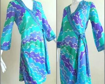 ViNtAgE 60s 70 Emilio Pucci Coverup Gypsy Wrap Dress psychedelic Kaftan Hippie Tunic Sheer Formfit Rogers Nightie Goddess EPFR Blue Green S