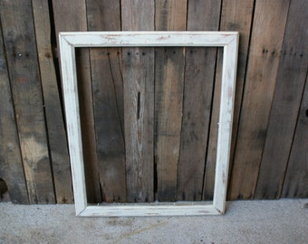 SUPER SALE - Large White Vintage Shabby Chic, Wooden, Picture Frame