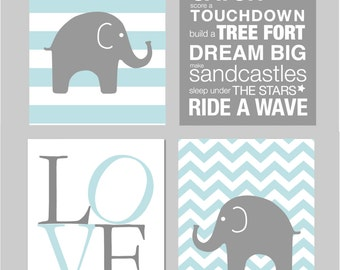 Baby Boy Nursery Art Chevron Elephant Nursery Prints Kids Wall Art Baby Boys Room Baby Nursery Decor Playroom Rules Quote Art